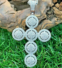 Jesus Cross Pendant 14K White Gold Plated 0.90 Ct White Sim Diamond 925 Silver