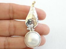 White Mabe Pearl Solitaire Hammered Finish 925 Sterling Silver Pendant