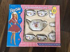 Vintage Barbie 13 Piece China Tea Party Picnic Set Complete In Box Mattel RARE