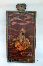 Vintage Old Hand Painted Indian Hindu God Folk Art Painting Wooden Plaque Panel
