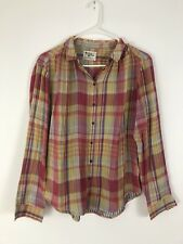 Holding Horses Anthropologie Red Plaid Button Up Shirt Long Sleeve Womens Size 6