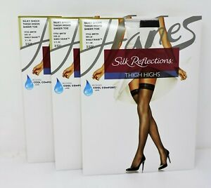 Hanes Silk Reflections Q00720 Silky Thigh Highs Pantyhose Sheer Toe 3 Pair
