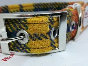 Red yellow blue Check Harris Tweed dog collar and lead set Various sizes