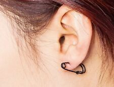 Black Colour Safety Pin Ear Stud Earrings Ear pins Climber Rings 925 BLK ecf08
