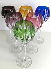 """BOHEMIAN MULTI COLOR CASED CUT TO CLEAR CRYSTAL 8"""" WINE GOBLETS Set of 6"""