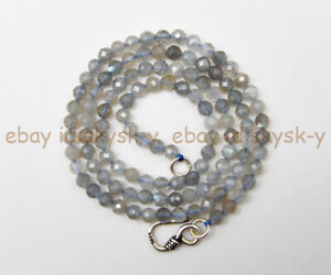 Faceted 4mm Natural Gray Flash Labradorite Round Gemstone Beads Necklace 16-48''
