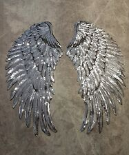 SILVER ANGEL SEQUIN WINGS 1 x PAIR 34x16CM CRAFT SEW ON PATCHES APPLIQUE PATCH