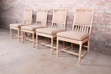 McGuire Mid-Century Hollywood Regency Bamboo Rattan Dining Chairs, Set of Four