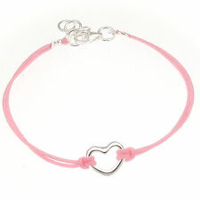 Childrens Bracelet Sterling Silver Heart with Pink Cord - Girls Freindhip