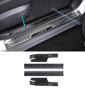 Carbon Fiber Inner Side Door Sill Guards Plate For Nissan Rogue X-Trail 17-19