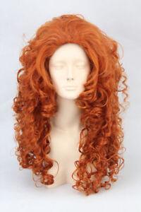 Fashion Long Orange Wavy Curly Women Cosplay Party Hair Wig Full Wigs + Wig Cap