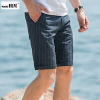 Mens Striped Pockets Summer 100%  linen Shorts Pants Trousers Casual Western Hot