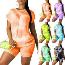 Women Gradient Tracksuits Sets Joggers Summer Casual T-Shirt Tops Shorts Outfits