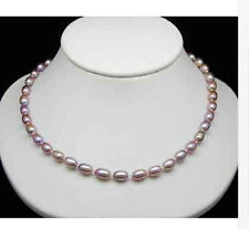 new 7-8MM  natural pink purple Cultured Akoya Pearl Necklace 18''  AA