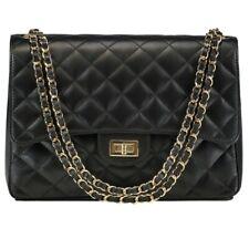 Ladies Quilted JUMBO Chain Leather Caviar Shoulder Black Crossbody Handbag Purse