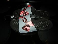 Brand New Mens Gray & Red Under Armour Strike Grid Sandals, Size 8