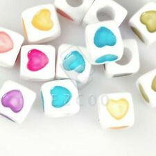 40pcs Solid Cube Acrylic Spacer Beads Jewelry Making 7x7mm White Lots AR0379