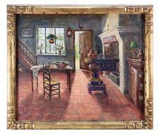 """A. Stockman"" Antique Oil Painting, Impressionist Interior of a Dutch Kitchen"