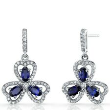 Created Blue Sapphire Trinity Earrings Sterling Silver 1.5 Carats