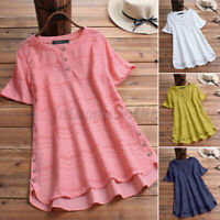 Women's Button Down Eyelets T-Shirt Blouse Summer O-Neck High Low Shirt Tops Tee
