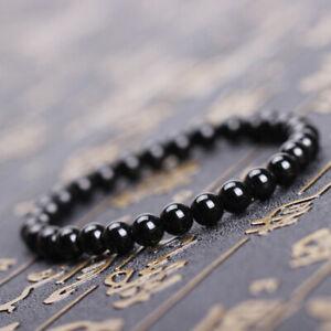 2019 4mm 6mm 8mm 10mm Natural Gemstone Brilliant Black Agate Stone Bracelets