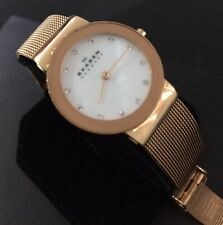 Señoras Reloj Skagen De Diseñador 358 SRRD FREJA Oro Diamante Plata PVD Malla