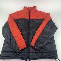 Vintage Reebok Puffer Jacket Men's Large Red Black Colorblock