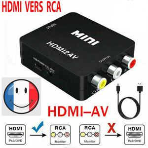 Adaptateur Convertisseur HDMI vers RCA AV/CVSB L/R HD 1080p VG 4K  +Cable USB