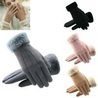Elegant Women Suede Thermal Gloves Touch Screen Winter Warm Full Finger Mittens