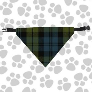 Clan Campbell Dog Scarf Plaid Tartan Scottish Pet Bandana with Buckled Collar