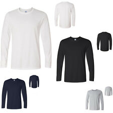 New Mens Long Sleeve Plain Top 100% Cotton Designer Style Fit T Shirt XS-XXL