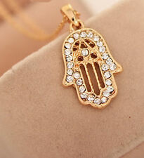 Rhinestone Lucky Lady Hamsa Pendant Necklace Fatima Hand Golden Chain Charm