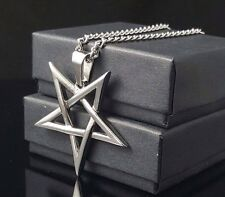Satanic Inverted Pentagram / Pentacle necklace 316L Stainless