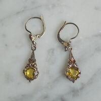 Antike Ohrringe mit gelbem Schmuckstein, Silber 835  (# 12367)