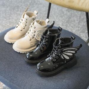 Kids Girls Winter Biker Chelsea Ankle Boots Shoes Winter School Wing Shoes Size