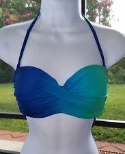 New W/TAG Venus Lascana Bandeau Bikini Push UP Top DD Blue Green swimsuit
