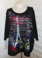 Liz & Me 4X Black Winter In Paris Christmas Sparkly Jewels Tunic Top  Plus Size
