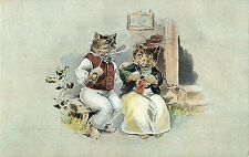 Old Pc Dressed Old Cat Couple on Porch Smoke & Knit, Hochhauser E.L. Series 1006