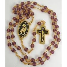Damascene Gold Rosary Crucifix Virgin Mary Purple Beads by Midas of Toledo 8601