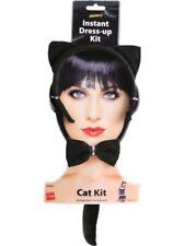 Halloween Fancy Dress Cat Set Ears Tail Bow Tie Ladies Kit Black By Smiffys New