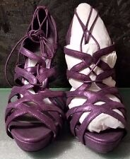 Purple/Violet Metallic Sheen Lace Up Wedge Heel by INC, Size 7.5, NWB
