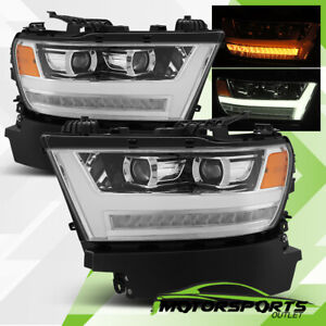 For 2019 2020 Dodge Ram 1500 LED DRL Sequential Projector Chrome Headlights