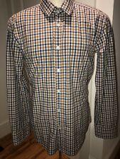 Hugo Boss Ronny_16 Plaid Denim Elbow Patch Shirt L Mens Slim