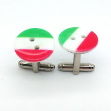 GEMELLI rotondi bandiera tricolore ITALIA Italian Flag Cufflinks