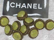CHANEL 10 BRONZE CC LOGO FRONT KHAKI GREEN GLASS BUTTONS 10 MM SMALL  NEW lot 10