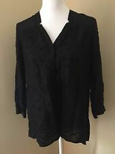 LUCKY BRAND Medium M Black Floral Embroidered Rayon 3/4 Sleeve Tunic Blouse