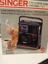 Singer 5 'N 1 Coffee Maker Grinds And Brews Coffee And Tea Hot And Iced 470W