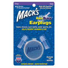 Macks AquaBlock Earplugs 1 Pair Clear Swim Shower Water