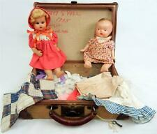 Two Vintage  Composition Dolls in Trunk with Additional Clothes 1915