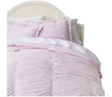 Simply Shabby Chic Pink Ruched Ruffled Comforter Set - Full/Queen